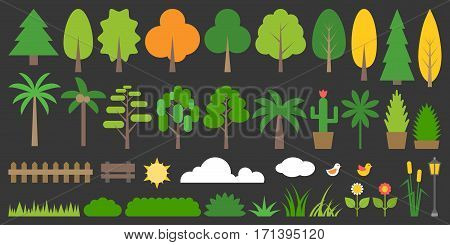 Big set of graphic info element of forest, plant and tree in flat design, such as grass, flower, bushes, fence, palm, pine, bench, bird, lamp, cactus