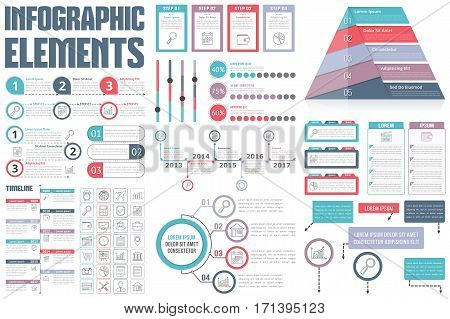 Infographic Elements - process infographics, workflow, diagrams, timeline infographics, steps and options, pyramid chart, flowchart design elements, vector eps10 illustration