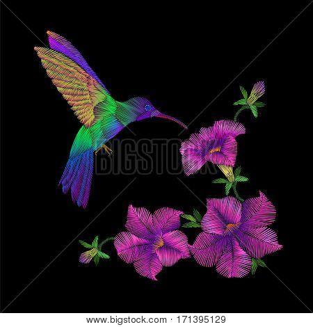 Embroidery Crewel Hummingbird Bird Flying Petunia Flower Decoration Patch Print Vector Illustration
