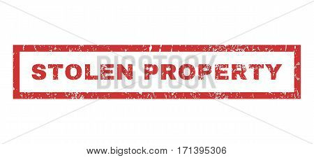 Stolen Property text rubber seal stamp watermark. Caption inside rectangular shape with grunge design and scratched texture. Horizontal vector red ink sign on a white background.