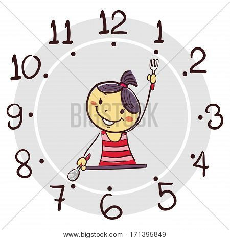 Vector Illustration of Stick Girl using his arm as clock hand pointing 7 o'clock for breakfast