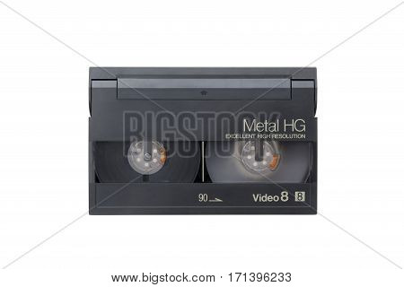 Video 8 cassette on a white background