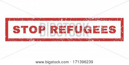 Stop Refugees text rubber seal stamp watermark. Tag inside rectangular shape with grunge design and dust texture. Horizontal vector red ink emblem on a white background.