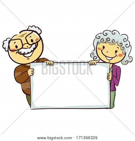 Vector Illustration of Stick Figures of Grandparents Holding a Blank Board