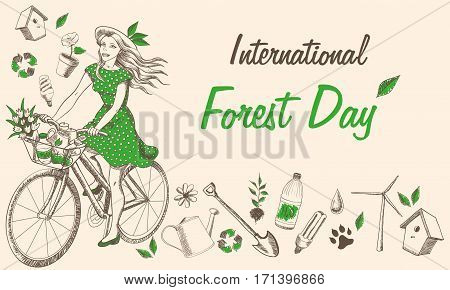 International day of forest illustration sketch design