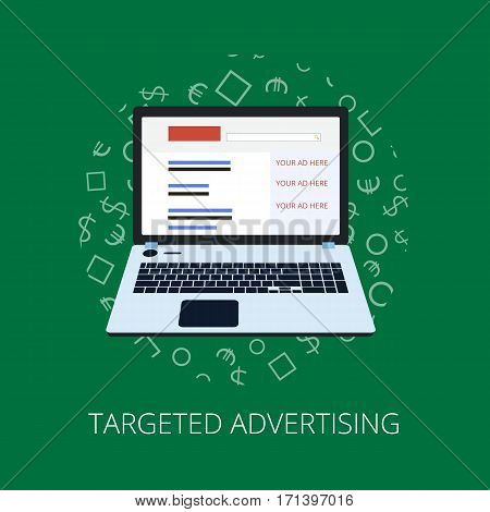 Flat Style Web Banner Modern Digital Marketing Partnership Icon Set. Target Advertising Research Ide