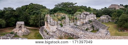 Ek Balam, Ancient Maya city ruins panoramic view in Yucatan, Mexico