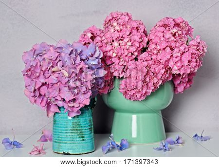 bouquets with beautiful hydrangea flowers
