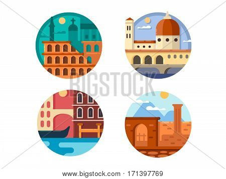 Italy set. Colosseum in Rome and river canals of Venice. Vector illustration. Pixel perfect icons size - 128 px