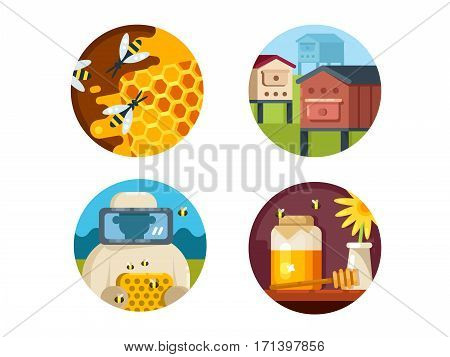 Apiary set. Honeyed farm and collect honey. Vector illustration. Pixel perfect icons size - 128 px