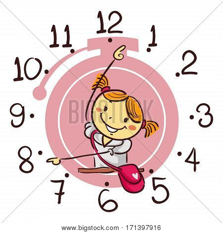 Vector Illustration of Stick Kid Girl Showing using her arm as Hand Clock pointing 8 o'clock