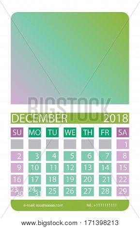 Calendar grid. December. This page wall calendar. In place of the gradient field can be foredeck your image. Eps 10