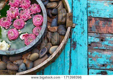 Lotus flowers and spa stones decoration close up in spa