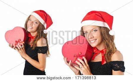 Santa girl with giftboxes on white