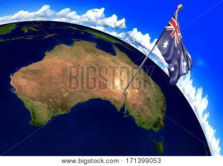 Australia national flag marking the country location on world map. 3D rendering, parts of this image furnished by NASA