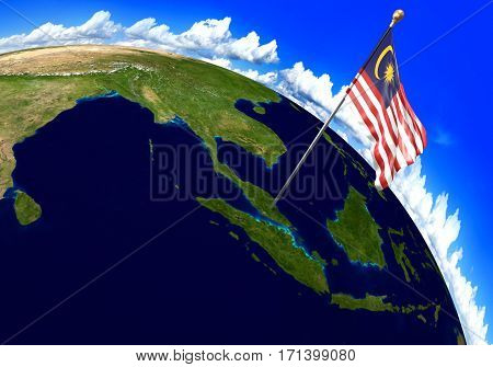 Malaysia national flag marking the country location on world map. 3D rendering, parts of this image furnished by NASA