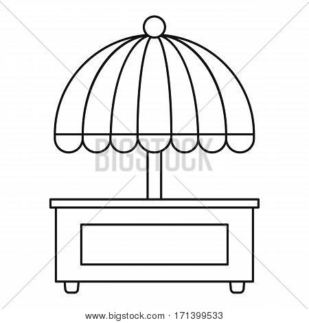 Mobile cart with umbrella icon. Outline illustration of mobile cart with umbrella vector icon for web