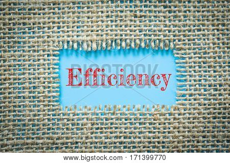 Text Efficiency on paper blue has Cotton yarn background you can apply to your product.