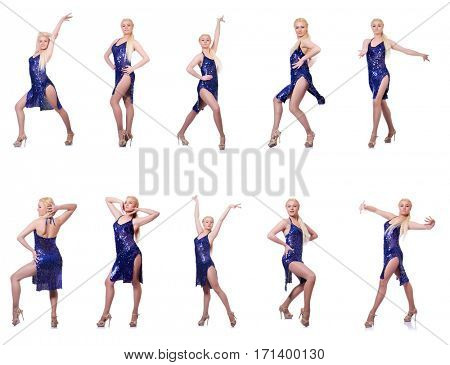 Woman dancing isolated on the white