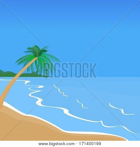 Seaside Landscape. Seaside Promenade. Tropical Resort. Palm Trees Beach Vacation