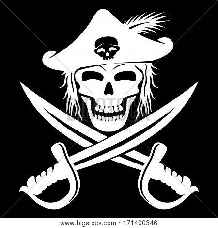 Pirate skull and swords on a black background.