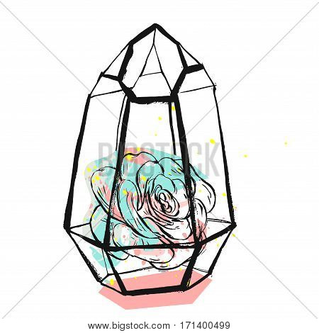 Hand drawn vector abstract graphic illustration with succulent plant in glass rough painted terrarium in pastel pink and tiffany blue colors isolated on white background.Design for save the datesign