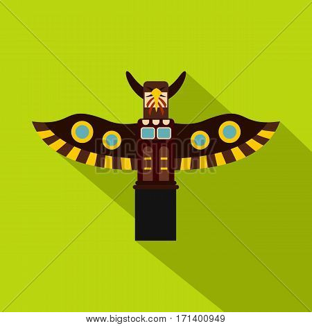 Indian totem pole icon. Flat illustration of indian totem pole in park,  vector icon for web isolated on lime background