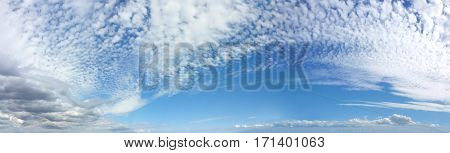 Panoramic Romantic Mackerel Blue Sky Cloudscape - Wide blue sky banner with mackerel different fluffy clouds