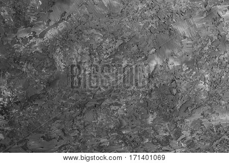 Painted black and gray stained shabby textured background. Decorative trim