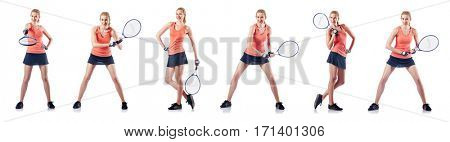 Young woman playing tennis isolated on white