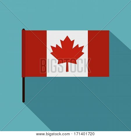Canadian flag icon. Flat illustration of Canadian flag vector icon for web isolated on baby blue background