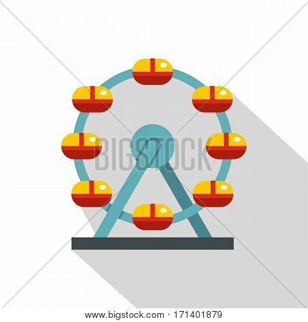Huge ferris wheel, Canada icon. Flat illustration of huge ferris wheel, Canada vector icon for web isolated on white background