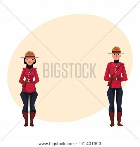 Canadian male and female policeman in traditional uniform - scarlet tunic and breeches, cartoon vector illustration with place for text. Couple of young Canadian mounted policemen