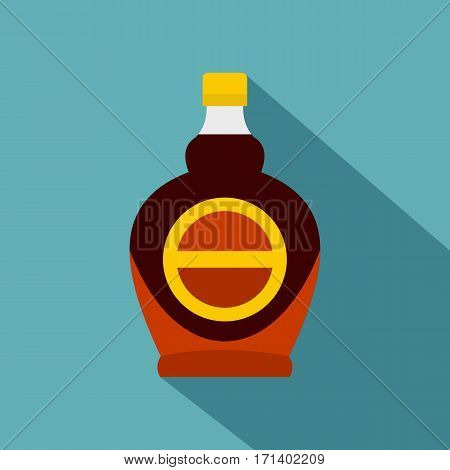 Bottle of maple syrup icon. Flat illustration of bottle of maple syrup vector icon for web isolated on baby blue background