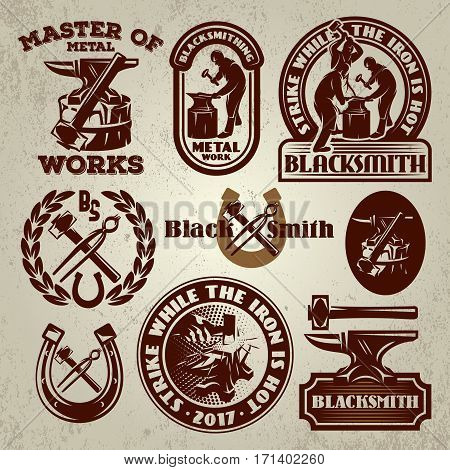 vector set of badge design elements templates for logo design on the theme of blacksmithing