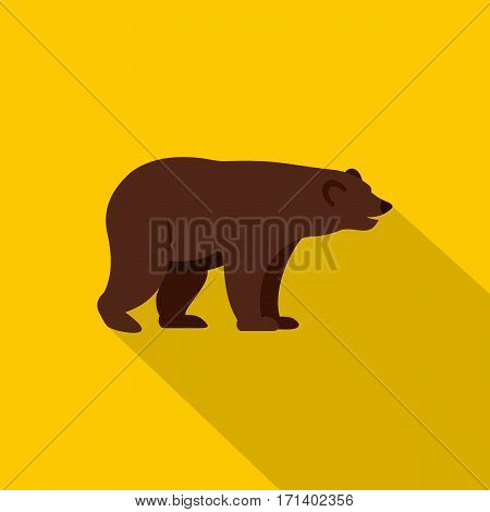 Grizzly bear icon. Flat illustration of grizzly bear vector icon for web isolated on yellow background