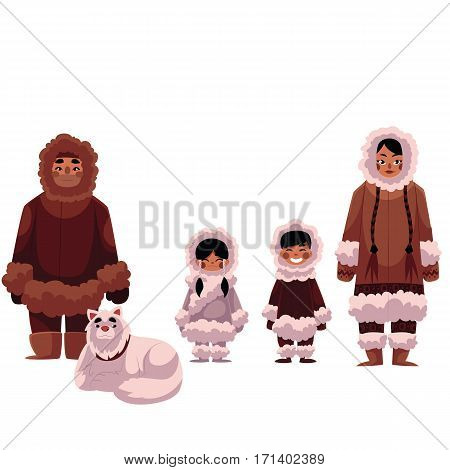 Eskimo, Inuit family of father, mother and kids with white sledge dog, cartoon vector illustration isolated on white background. Set of Eskimos, Inuit people in warm fur coats, northern life