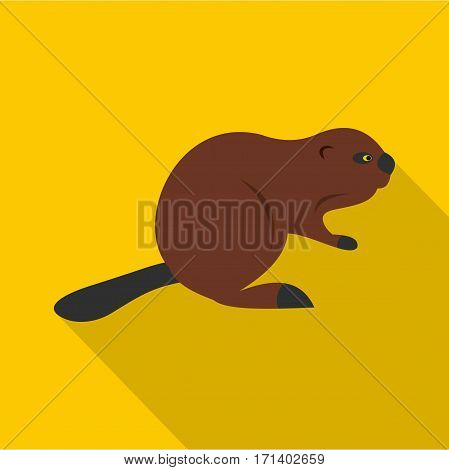 North American beaver icon. Flat illustration of North American beaver vector icon for web isolated on yellow background
