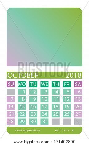 Calendar grid. October. This page wall calendar. In place of the gradient field can be foredeck your image. Eps 10