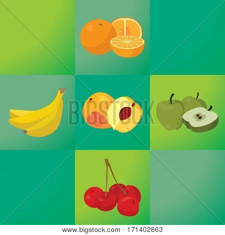 oranges bananas peaches apples cherries - healthy fruit. For your convenience each significant element is in a separate layer. Eps 10