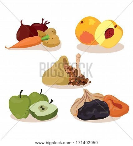 Vegetarian foods: vegetables peaches cereal apples dried fruit. For your convenience each significant element is in a separate layer. Eps 10