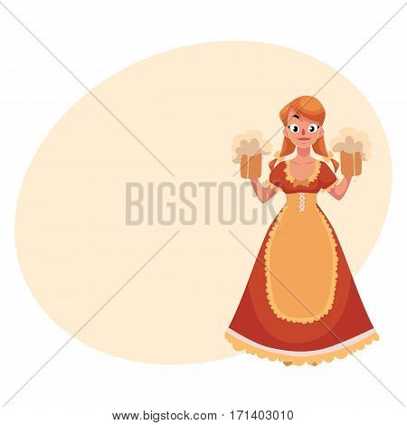 Woman in traditional German, Bavarian, Austrian country dress holding beer mugs, Oktoberfest, cartoon vector illustration with place for text. German girl in traditional Oktoberfest costume
