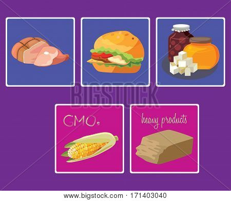 meats sweets fast food GMO heavy products- food is harmful to the intestines. For your convenience each significant element is in a separate layer. Eps 10