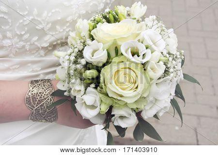 Flowers roses bouquet of white roses, wedding bouquet, Bridal bouquet
