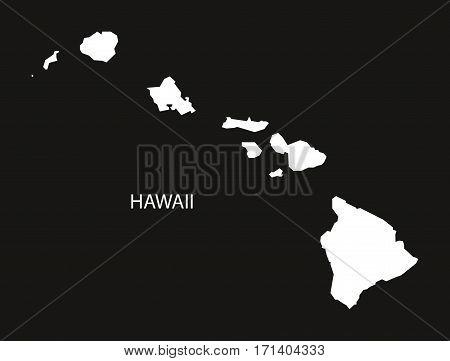 Hawaii USA Map black inverted silhouette illustration