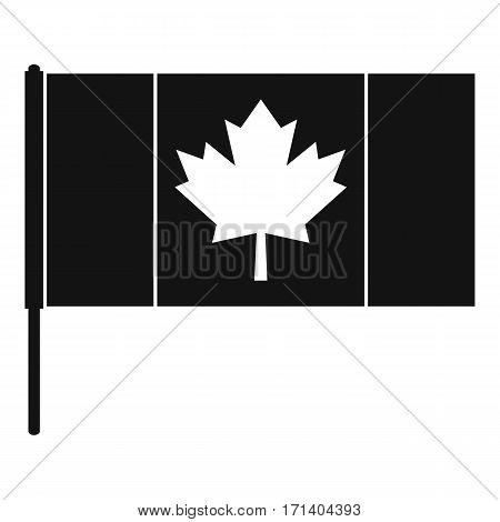 Canada flag with flagpole icon. Simple illustration of Canada flag with flagpole vector icon for web