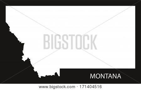 Montana USA Map black inverted silhouette illustration