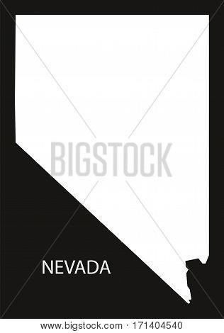 Nevada USA Map black inverted silhouette illustration