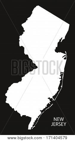 New Jersey USA Map black inverted silhouette illustration