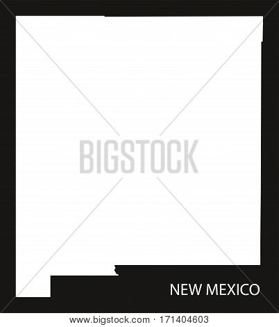 New Mexico USA Map black inverted silhouette illustration